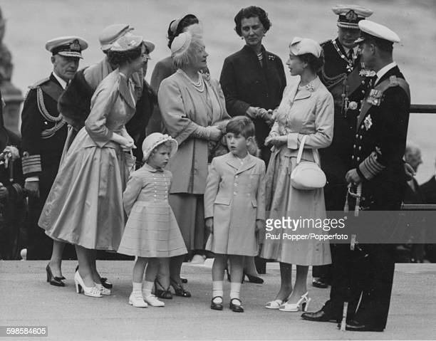 Following her return from a six month Commonwealth tour Queen Elizabeth II arrives at Westminster Pier with Princess Margaret Princess Anne in front...