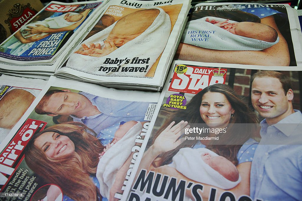 Following the birth of Prince William, the Duke of Cambridge, and Catherine, the Duchess of Cambridge's new baby boy yesterday, British newspaper front pages show photographs of the new Prince on July 24, 2013 in London, England. The Duchess of Cambridge gave birth to a boy at 16.24 BST on Monday July 22, 2013, weighing 8lb 6oz, with Prince William at her side. The baby, as yet unnamed, is third in line to the throne and becomes the Prince of Cambridge.