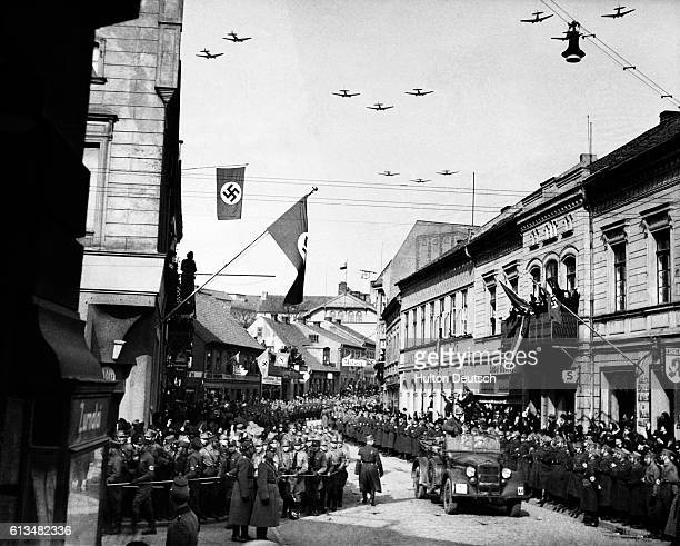 Following the cession of the Lithuanian port of Memel to Nazi Germany in March 1939 crowds line the streets to welcome a visit by their new Chancellor