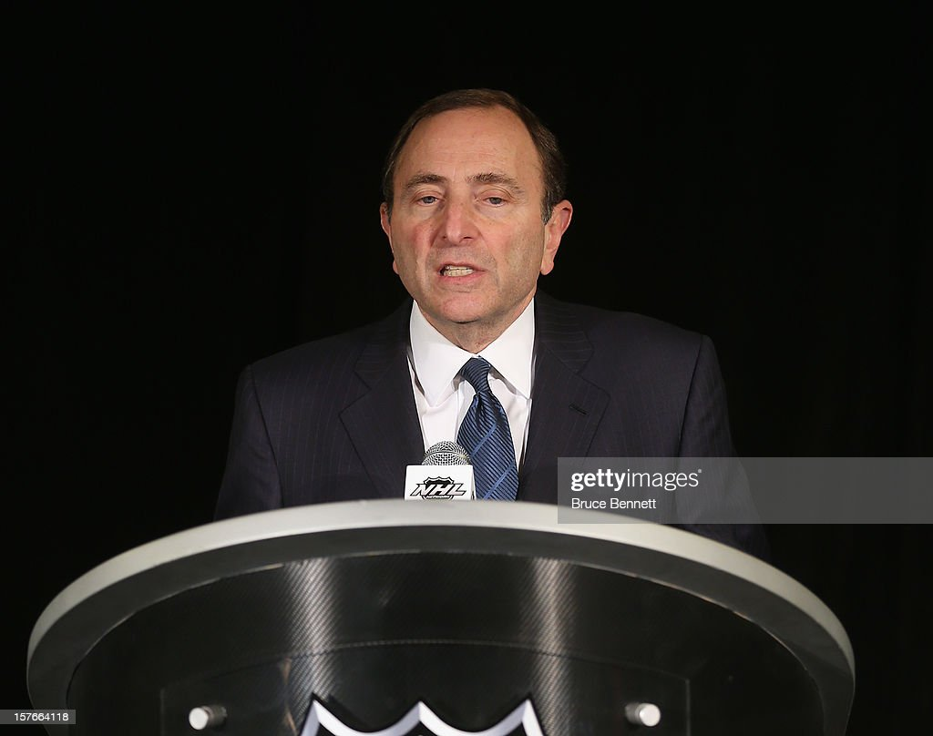 Following the NHL Board of Governors meeting, Commissioner Gary Bettman of the National Hockey League addresses the media at the Westin Times Square on December 5, 2012 in New York City.