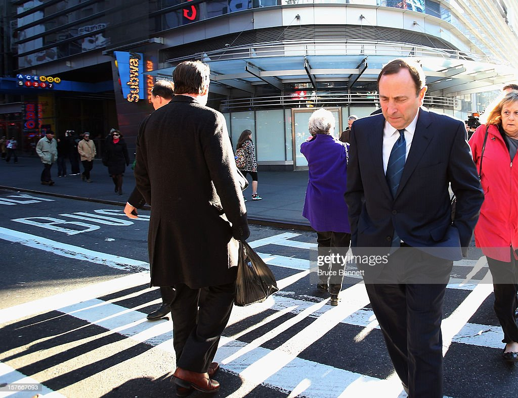 Following the NHL Board of Governors meeting, Commissioner Gary Bettman of the National Hockey League heads uptown to address the media at the Westin Times Square on December 5, 2012 in New York City.