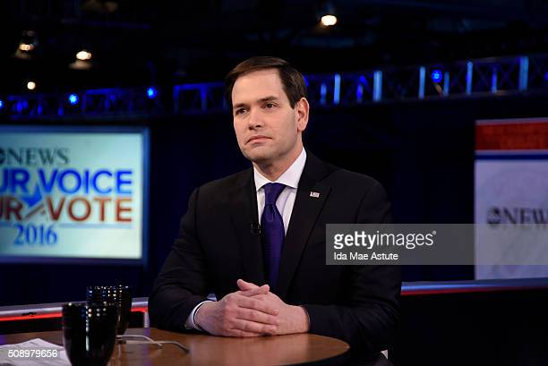 WEEK 2/7/16 Following the Republican Presidential Debate George Stephanopoulos interviews Donald Trump and Marco Rubio from St Anselm College in...