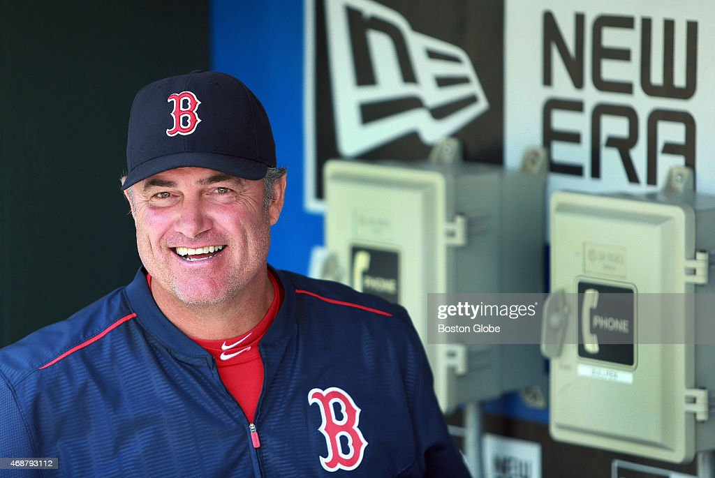 Following their last place finish in 2014, Red Sox manager <a gi-track='captionPersonalityLinkClicked' href=/galleries/search?phrase=John+Farrell+-+Director+de+equipo+de+b%C3%A9isbol&family=editorial&specificpeople=10307520 ng-click='$event.stopPropagation()'>John Farrell</a>, in the dugout before Boston's batting practice, and the club are looking to start a 'New Era' as the 2015 season begins today. The Boston Red Sox visited the Philadelphia Phillies for their 2015 MLB season Opening Day game at Citizens Bank Park.