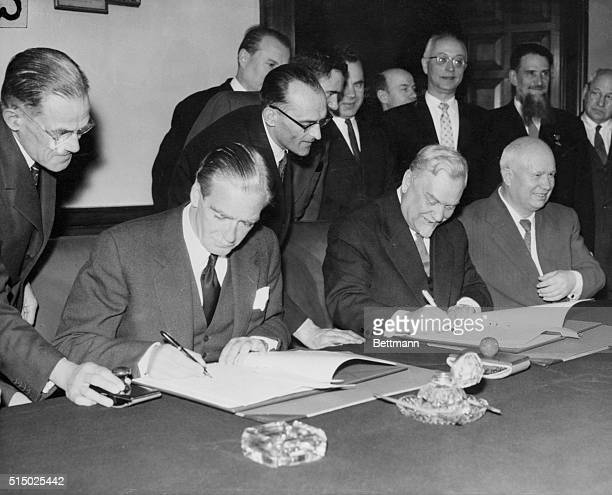 Following their tenday goodwill tour of England the Soviet leaders sat down with British Prime Minister Anthony Eden to sign a Joint Communique of...