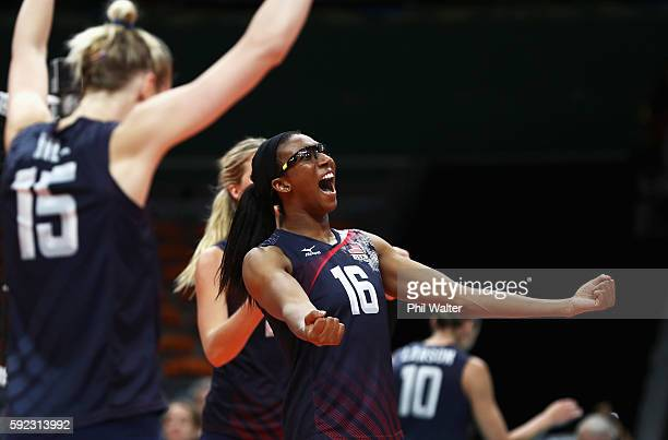 Foluke Akinradewo and Kimberly Hill celebrate a point during the Women's Bronze Medal Match between Netherlands and the United States on Day 15 of...