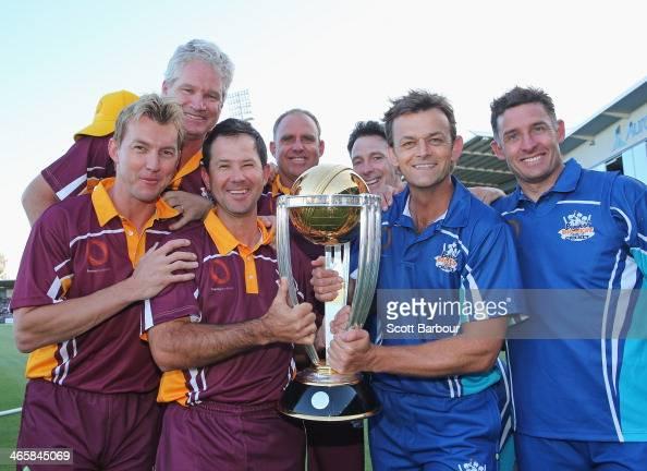 Fomer Australian Cricket World Cup players Dean Jones Brett Lee Michael Hussey Ricky Ponting Matthew Hayden Damien Fleming and Adam Gilchrist pose...