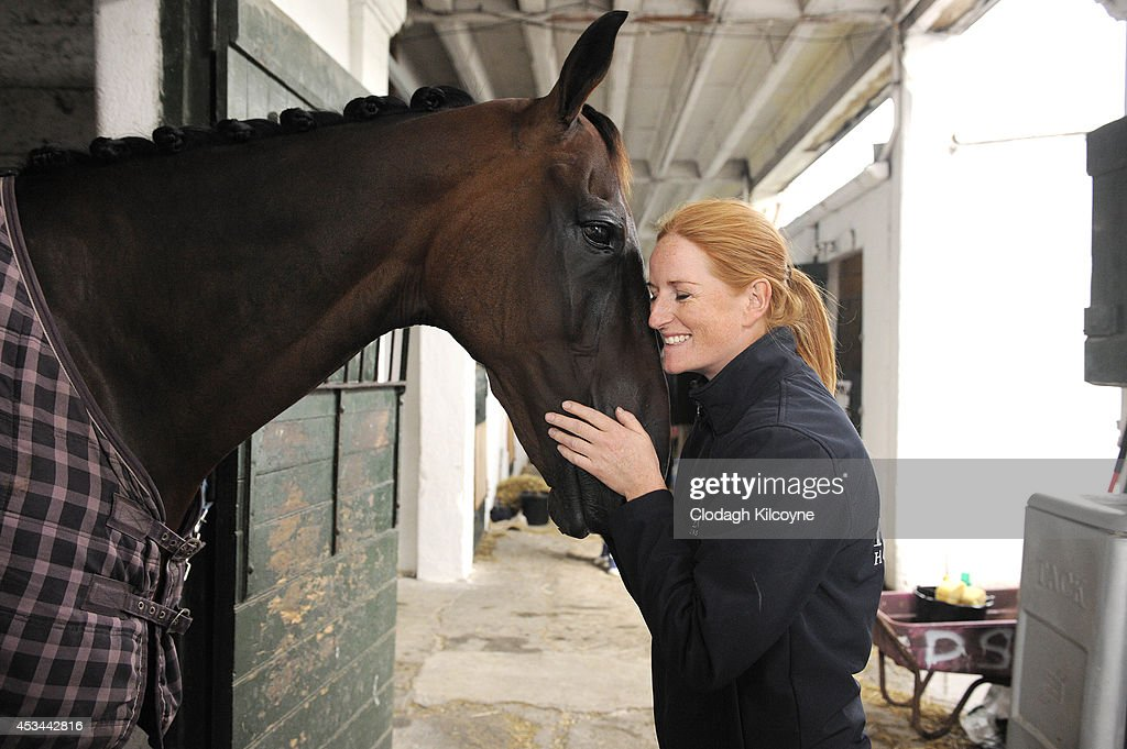 Fomer champion racehorse Forpadydeplasterer and Joanne Quirke after Forpadydeplasterer finished competing during the final day of the Dublin Horse Show 2014 on August 10, 2014 in Dublin, Ireland.