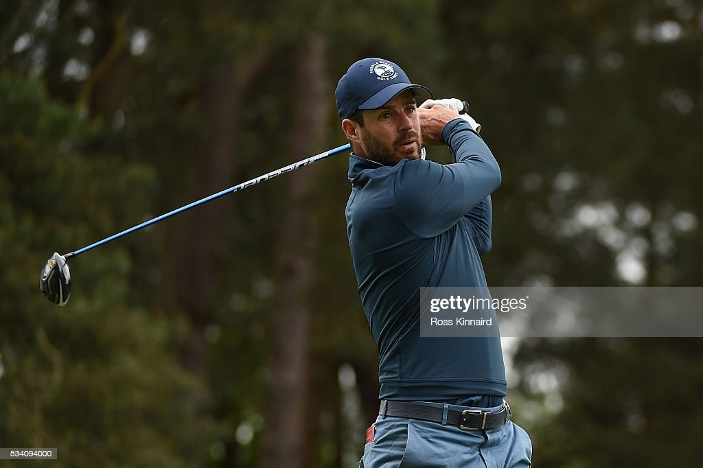 Fomer footballer <a gi-track='captionPersonalityLinkClicked' href=/galleries/search?phrase=Jamie+Redknapp&family=editorial&specificpeople=206242 ng-click='$event.stopPropagation()'>Jamie Redknapp</a> tees off during the Pro-Am prior to the BMW PGA Championship at Wentworth on May 25, 2016 in Virginia Water, England.