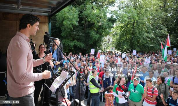Fomer Irish Rugby International player Trevor Hogan addresses thousands of protestors taking to the streets of Dublin to express their opposition to...