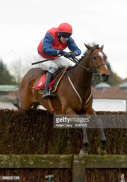 Fond Memory ridden by jockey Jamie Bargary competes in the Watch On 3 Devices Racingukcom Handicap Chase at Kempton Racecourse