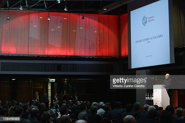 Fondazione Altagamma Chairman Santo Versace speaks during the Altagamma Observatory 2011 at Palazzo Mezzanotte on October 17 2011 in Milan Italy The...