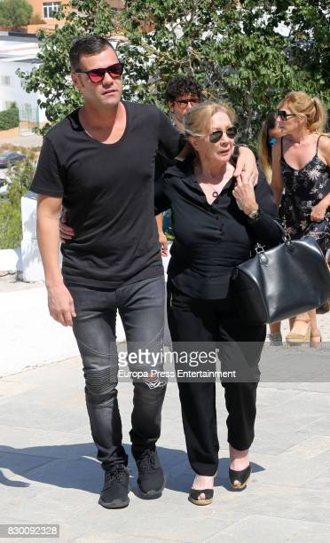 Fonsi Nieto and his mother attend the funeral chapel for former motorcycling world champion Angel Nieto at Tanatorio de Ibiza on August 4 2017 in...