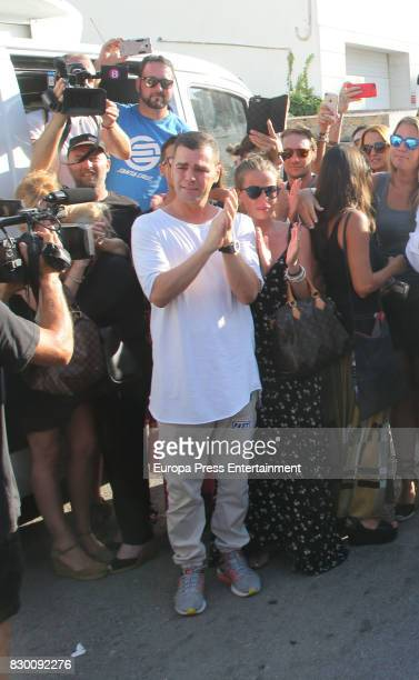 Fonsi Nieto and Marta Castro attend the funeral chapel for former motorcycling world champion Angel Nieto at Tanatorio de Ibiza on August 4 2017 in...