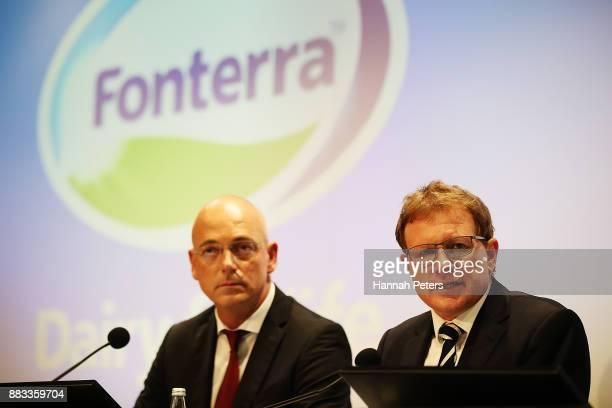 Fonterra's CEO Theo Spierings and Fonterra's Chairman John Wilson speak to the media on December 1 2017 in Auckland New Zealand Fonterra has been...