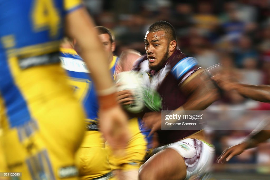 Fonua-Blake Addin of the Sea Eagles runs the ball during the round seven NRL match between the Manly Sea Eagles and Parramatta Eels at Brookvale Oval on April 14, 2016 in Sydney, Australia.