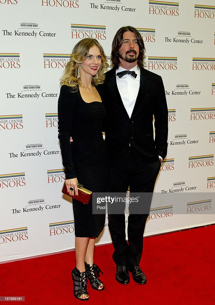 Foo Fighters guitarist <a gi-track='captionPersonalityLinkClicked' href=/galleries/search?phrase=Dave+Grohl&family=editorial&specificpeople=202539 ng-click='$event.stopPropagation()'>Dave Grohl</a> and his wife Jordyn arrive for the formal Artist's Dinner honoring the recipients of the 2012 Kennedy Center Honors hosted by United States Secretary of State Hillary Rodham Clinton at the U.S. Department of State December 1, 2012 in Washington, DC. The 2012 honorees are Buddy Guy, actor Dustin Hoffman, late-night host David Letterman, dancer Natalia Makarova, and the British rock band Led Zeppelin (Robert Plant, Jimmy Page, and John Paul Jones).