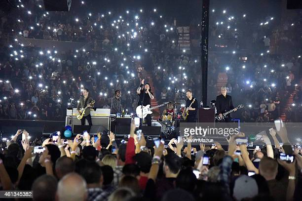 Foo Fighters perform onstage during Dave Grohl's birthday bash at The Forum on January 10 2015 in Inglewood California