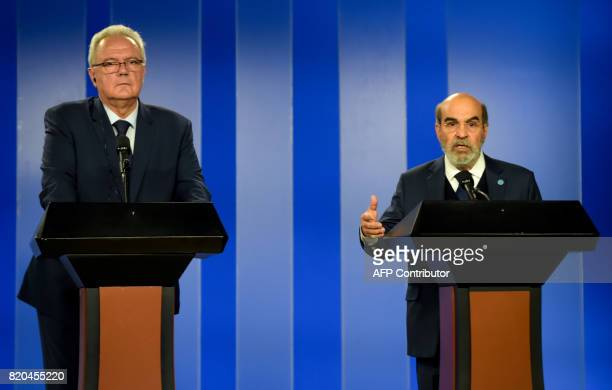 Food and Agriculture Organization general director Jose Graziano da Silva speaks next to European Commissioner for International Cooperation and...