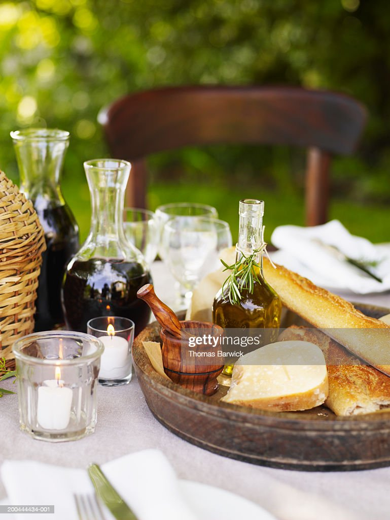 Food and drinks on table, outdoors : Stock Photo
