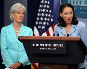 Food and Drug Administration Commissioner Margaret Hamburg speaks as Secretary of Health and Human Services Kathleen Sebelius listens during the...