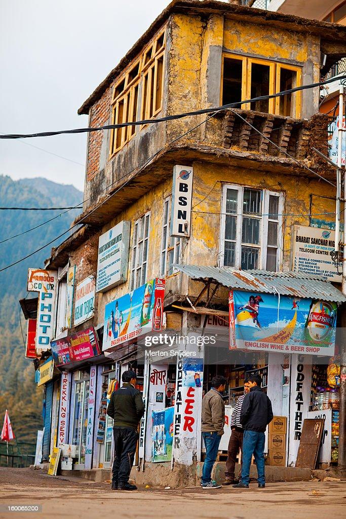 Food and Tourist shops on Bhagsu Road : Stock Photo