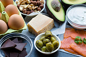 This is a table top shot of food items high in healthy fats. Eating healthy fats can help with weight loss and are the cornerstone of a high-fat low-carb diet (Ketogenic or Keto diet). These include: