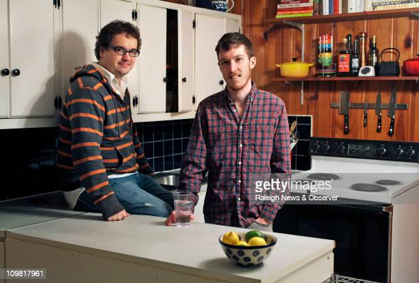 Food blogger Matt Lardie right and his fiance Leland Garrett of Durham North Carolina made the decision to limit meat for monetary and ethical reasons