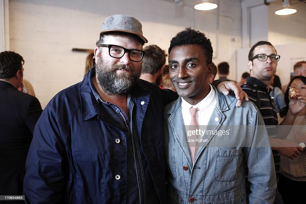 Food blogger Rohan Anderson and Chef <a gi-track='captionPersonalityLinkClicked' href=/galleries/search?phrase=Marcus+Samuelsson&family=editorial&specificpeople=2143367 ng-click='$event.stopPropagation()'>Marcus Samuelsson</a> attend the Apolis Summer Speaking Series Kickoff Event With Chef <a gi-track='captionPersonalityLinkClicked' href=/galleries/search?phrase=Marcus+Samuelsson&family=editorial&specificpeople=2143367 ng-click='$event.stopPropagation()'>Marcus Samuelsson</a> And Rohan Anderson at Apolis Common Gallery on June 18, 2013 in Los Angeles, California.