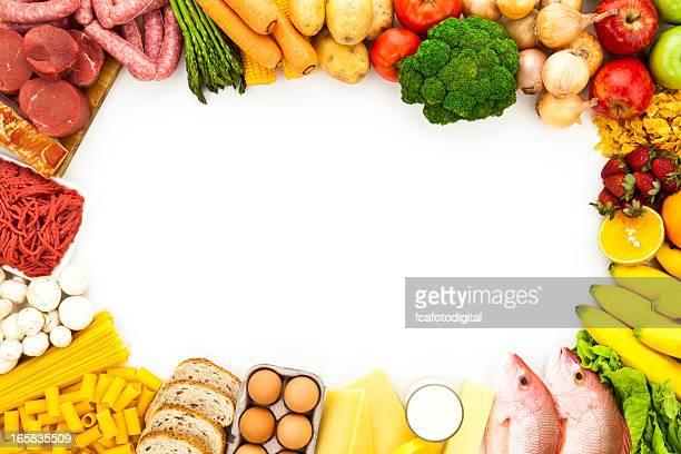 Blanco alimentos frontera con espacio de copia Toma realizada desde arriba