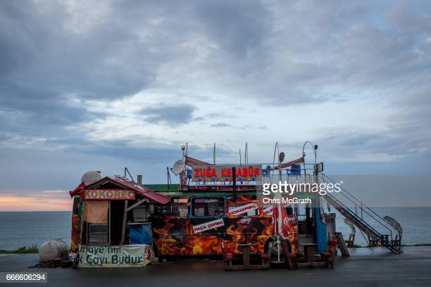 A food bus is seen on the edge of the black sea on April 9 2017 outside Rize Turkey Campaigning by both the 'Evet' and 'Hayir' camps has intensified...