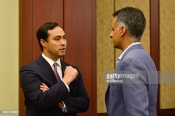Food Chains Panelist Sanjay Rawal and Rep Joaquin Castro attend a private screening of 'Food Chains' in the Capitol Visitors Center on September 30...