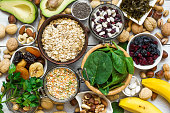 Food containing magnesium and potassium. Healthy food. Top view
