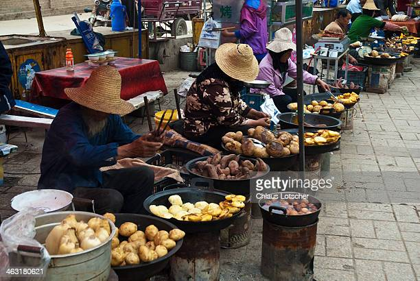 Food cooking market, Ta'er Monastery, Xining, Chi