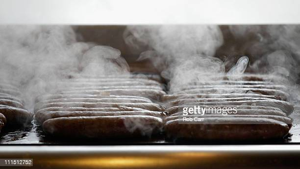 Food cooking on the grill is shown during opening day between the Philadelphia Phillies and the Houston Astros at Citizens Bank Park on April 1 2011...