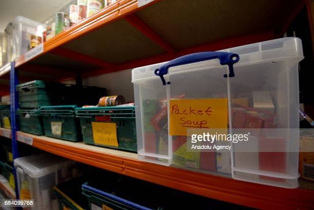 Food donations from the general public at Oasis Foodbank Waterloo in London United Kingdom on May 16 2017 Waterloo Foodbank exists to provide...