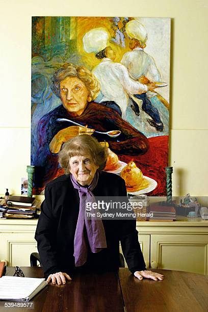 Food guru Joan Campbell at her Darling Point home in front of the Oil on Canvas 1997 portrait of her painted by Juliet Holmes a Court daughter of...