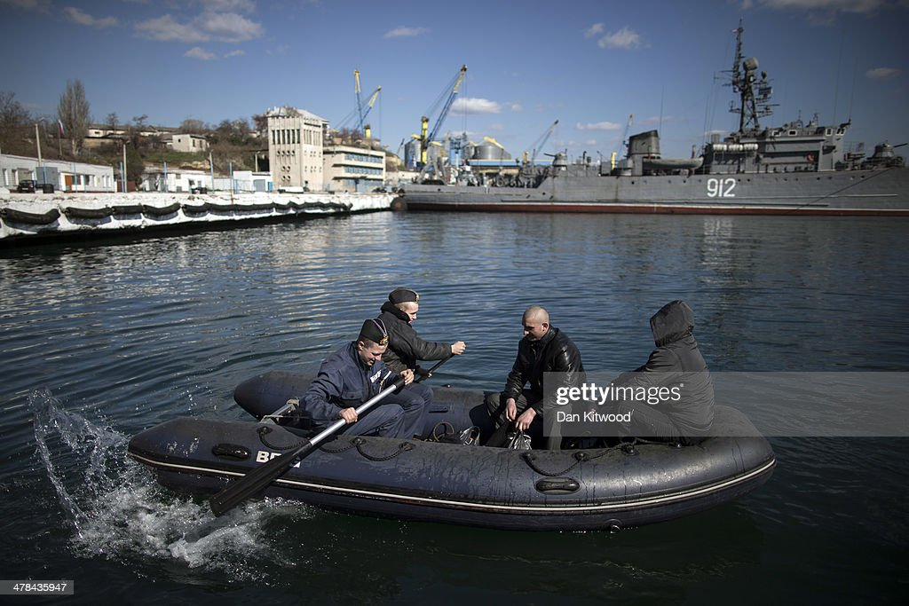 Food is collected to take aboard a Ukrainian naval ship, on March 13, 2014 in Sevastopol, Ukraine. As the standoff between the Russian military and Ukrainian forces continues in Ukraine's Crimean peninsula, world leaders are pushing for a diplomatic solution to the escalating situation. Crimean citizens will vote in a referendum on 16 March on whether to become part of the Russian federation.