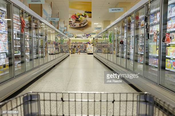 Food is displayed in the freezer section of a grocery store July 8 2014 in Miami Florida According to reports food prices have risen significantly...