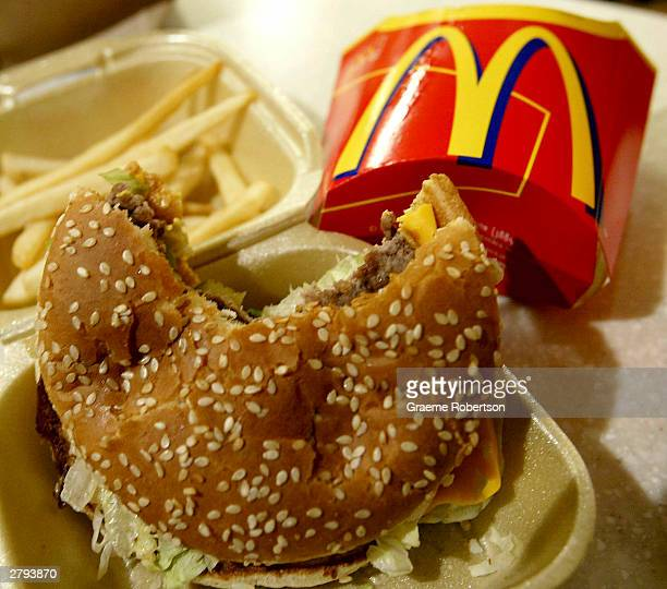 Food lies on the counter at a McDonalds restaurant on November 27 2003 in London McDonald's posted December 8 2003 its eighth straight monthly gain...