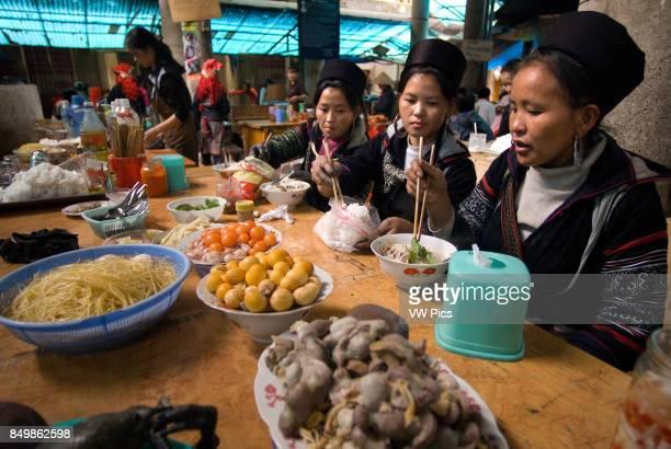 Food market stand serving food Sapa region North Vietnam Asia