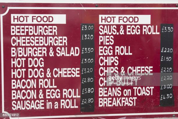 A food menu at a kiosk on August 12 2017 in Great Yarmouth England A cloudy overcast day greeted visitors to the Norfolk seaside town on one of the...