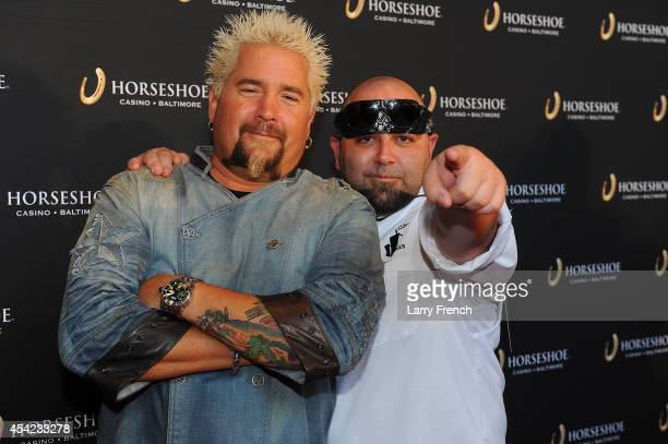 Food Network stars Guy Fieri and Duff Goldman celebrate the grand opening of Horseshoe Casino Baltimore on August 26 2014 in Baltimore Maryland