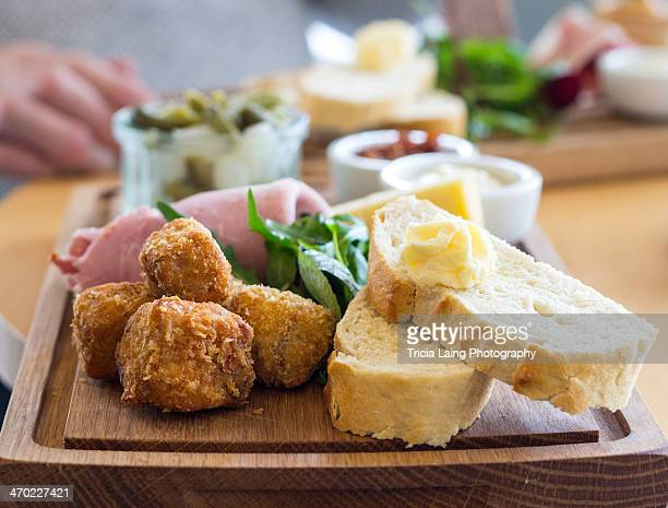 Food on a wooden board.