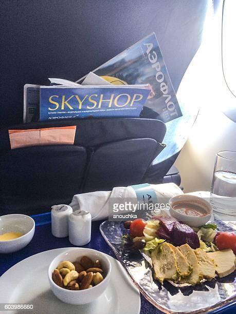 Food on board of Aeroflot airplane