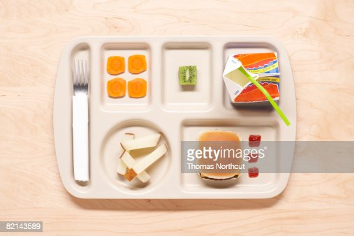 food on school lunch tray : Stock Photo