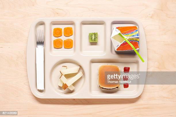 food on school lunch tray