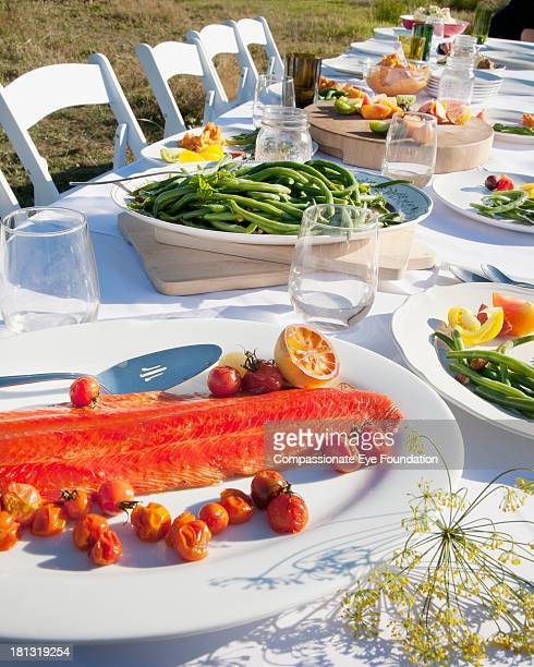 Food on table outdoors