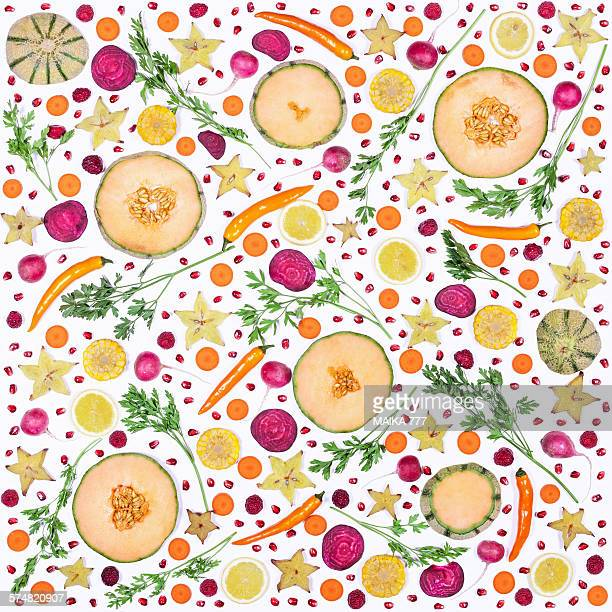 Food pattern with fresh vegetables and fruits