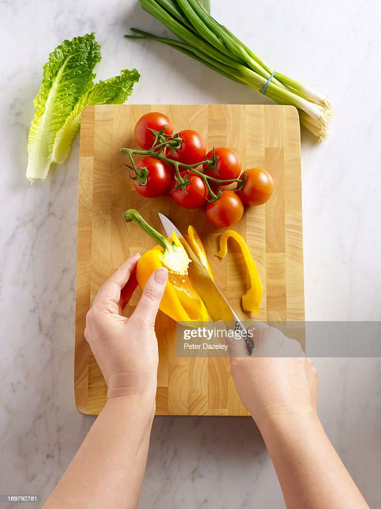 Food preparation on chopping board : Stock Photo