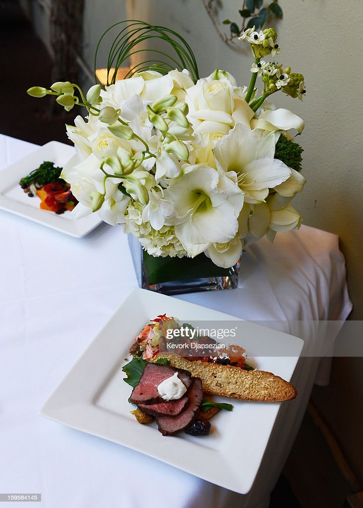 Food prepared by Lucques chef Suzanne Goin which will be served at the 19th annual SAG Awards is displayed along with Gallo wines, Champagne Tattinger and Fiji water during food and wine tasting event at Lucques Restaurant on January 16, 2013 in Los Angeles, California. The 19th Annual Screen Actor Guild Awards will be held at the Shrine Auditorium in Los Angeles on January 27.